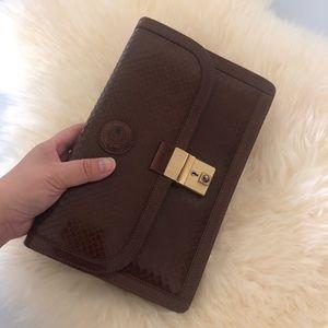 Vintage Castello Brown Leather Clutch